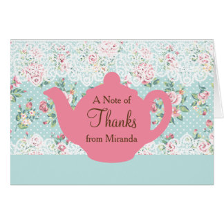 Vintage Teapot with Roses and Lace Border Card