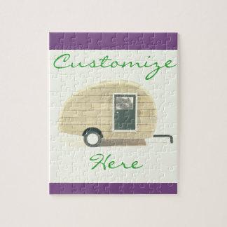Vintage teardrop trailer  gypsy caravan jigsaw puzzle