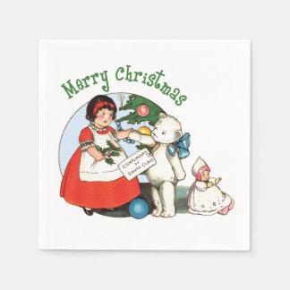 Vintage Teddy Bear Christmas Paper Napkin