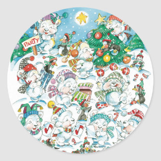 Vintage Teddy Bear Christmas Party Stickers