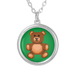 Vintage Teddy Bear - Pixel Art Silver Plated Necklace