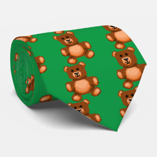 Vintage Teddy Bear - Pixel Art Tie