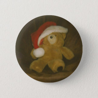 vintage teddy bear with santa hat(christmas) 2 inch round button