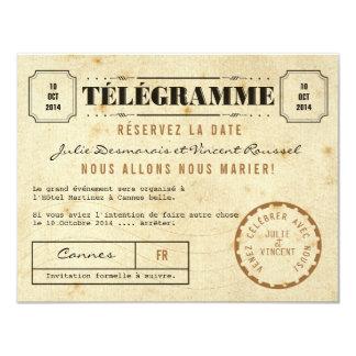 """Vintage Télégramme Réservez la Date 4.25"""" X 5.5"""" Invitation Card"""