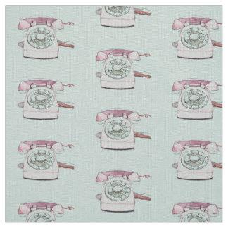 Vintage Telephone Pattern Repeat - Seafoam Fabric