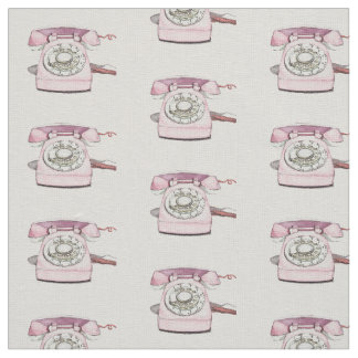 Vintage Telephone Pattern Repeat - White Fabric