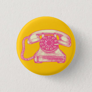Vintage Telephone with buffer icon 1 Inch Round Button