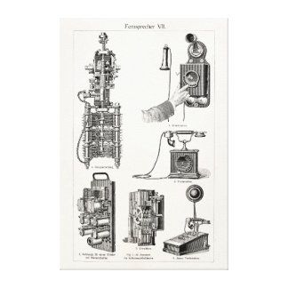Vintage Telephones Illustration Phone Retro Phones Canvas Print