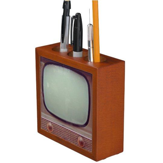 Vintage Television Set Desk Organizer