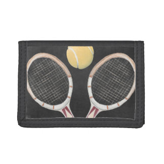 Vintage Tennis Chalkboard Design Tri-fold Wallet