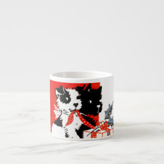 Vintage Terrier and Scotty Christmas Espresso Cup
