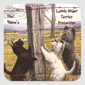 Vintage Terrier Lunch Protection Stickers
