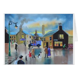 Vintage Tetley tea van street scene painting Card