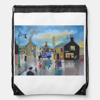 Vintage Tetley tea van street scene painting Drawstring Backpack