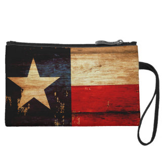 Vintage Texas State Flag in Rustic Wooden Grunge Wristlet Clutch