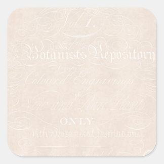 Vintage Text Botanist Parchment Paper Template Square Sticker