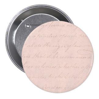 Vintage Text Colonial Script Parchment Paper Button