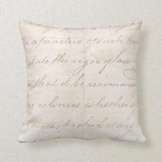 Vintage Text Colonial Script Parchment Paper Throw Pillow