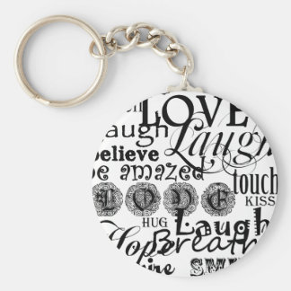 Vintage Text Life Advice Apparel and Gifts Basic Round Button Keychain