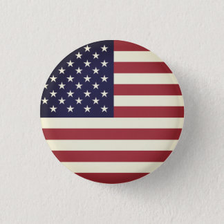 Vintage Texture American Flag Red and Blue 1 Inch Round Button
