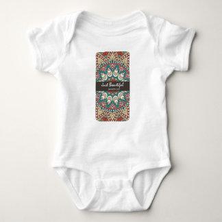 Vintage Texture Idian Colorful Design 10-01 Baby Bodysuit