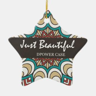 Vintage Texture Idian Colorful Design 10-01 Ceramic Star Ornament
