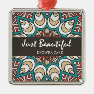 Vintage Texture Idian Colorful Design 10-01 Silver-Colored Square Ornament