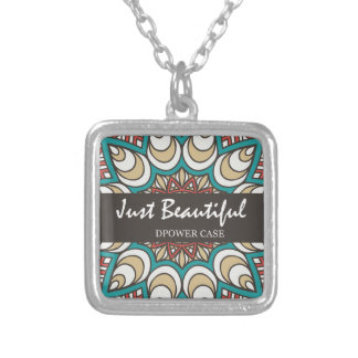 Vintage Texture Idian Colorful Design 10-01 Silver Plated Necklace