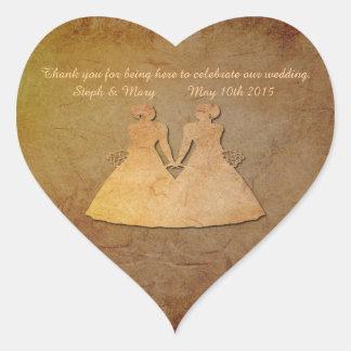 Vintage Texture Lesbian Wedding Heart Sticker