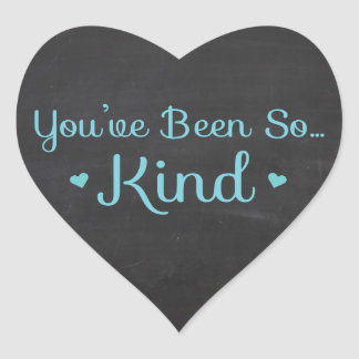 Vintage Thank You Black And Blue Chalkboard Heart Heart Sticker