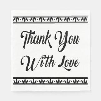 Vintage Thank You Black & White Floral Wedding Paper Napkin