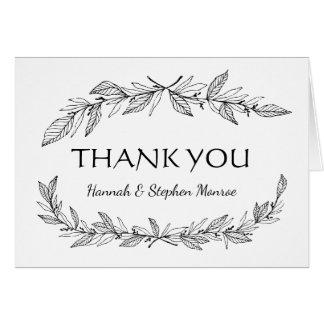 Vintage Thank You Black, White Laurel Leaf Wedding Card