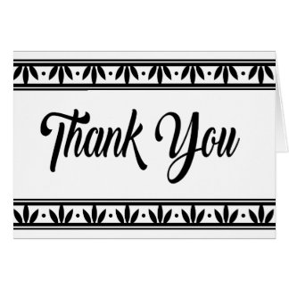 Vintage Thank You Black & White Leaves Flowers Card
