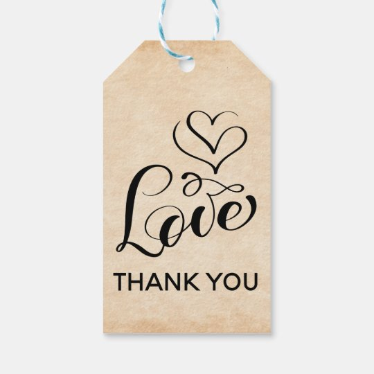 Vintage Thank You Brown Grunge Love Hearts Wedding Gift Tags