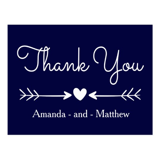 Vintage Thank You Navy Blue & White Heart & Arrows Postcard
