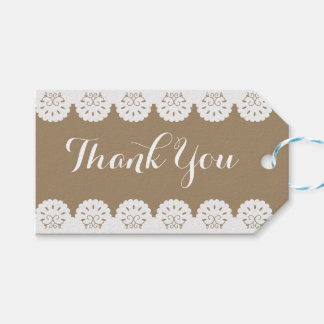 Vintage Thank You Red Heart Floral Swirl Wedding Gift Tags