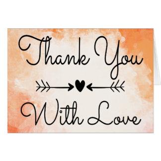 Vintage Thank You Watercolor Orange Black Heart Card
