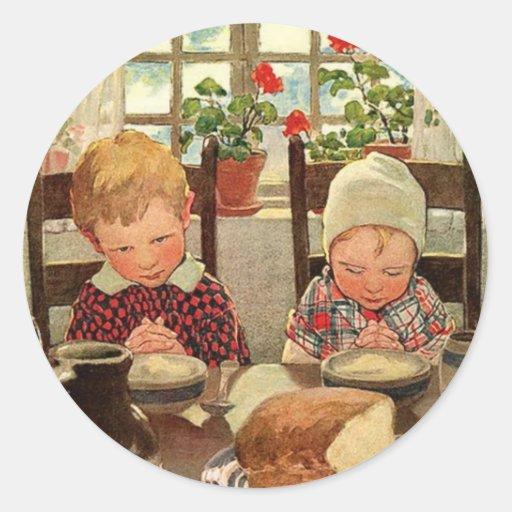 Vintage Thankful Children; Jessie Willcox Smith Round Stickers