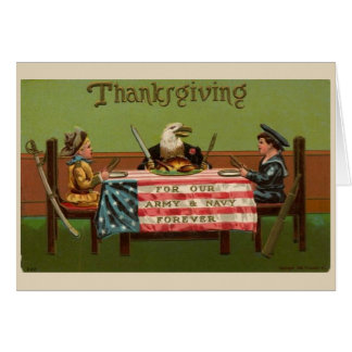 Vintage Thankful for the Military on Thanksgiving, Card