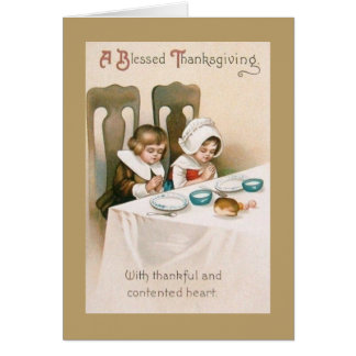 Vintage Thanksgiving Blessings Greeting Card