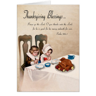 Vintage Thanksgiving Blessings w/ Praying Children Greeting Card