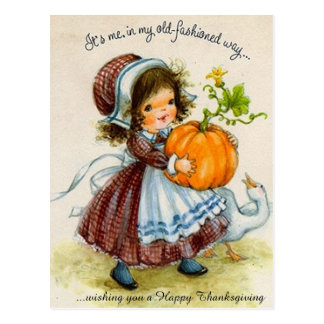 Vintage Thanksgiving Day Girl Postcard
