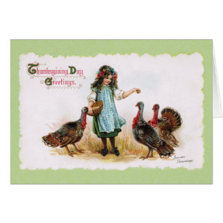 Vintage Thanksgiving Farm Girl & Turkeys Greeting Card