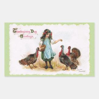 Vintage Thanksgiving Farm Girl & Turkeys Sticker