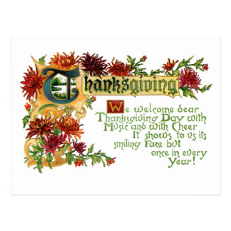 Vintage Thanksgiving Floral Greeting Post Card