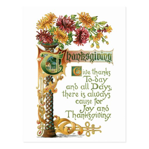 Vintage Thanksgiving Floral with Verse Postcards
