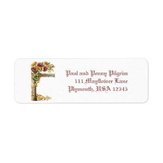 Vintage Thanksgiving Floral with Verse Return Address Label