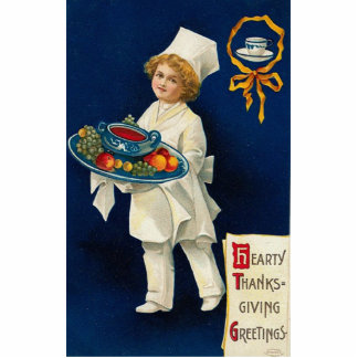 Vintage Thanksgiving Greeting Photo Sculpture Magnet