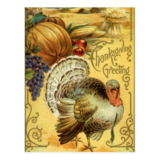 Vintage Thanksgiving Greeting with a Turkey Postcard