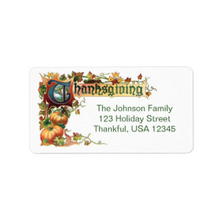 Vintage Thanksgiving Greeting with Pumpkins Personalized Address Labels